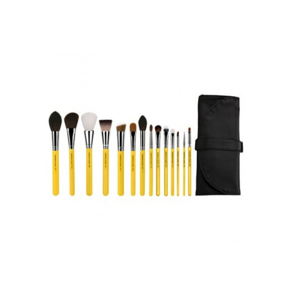14pc Makeup Brush Set Bdellium Studio The Collection With Roll-Up Pouch