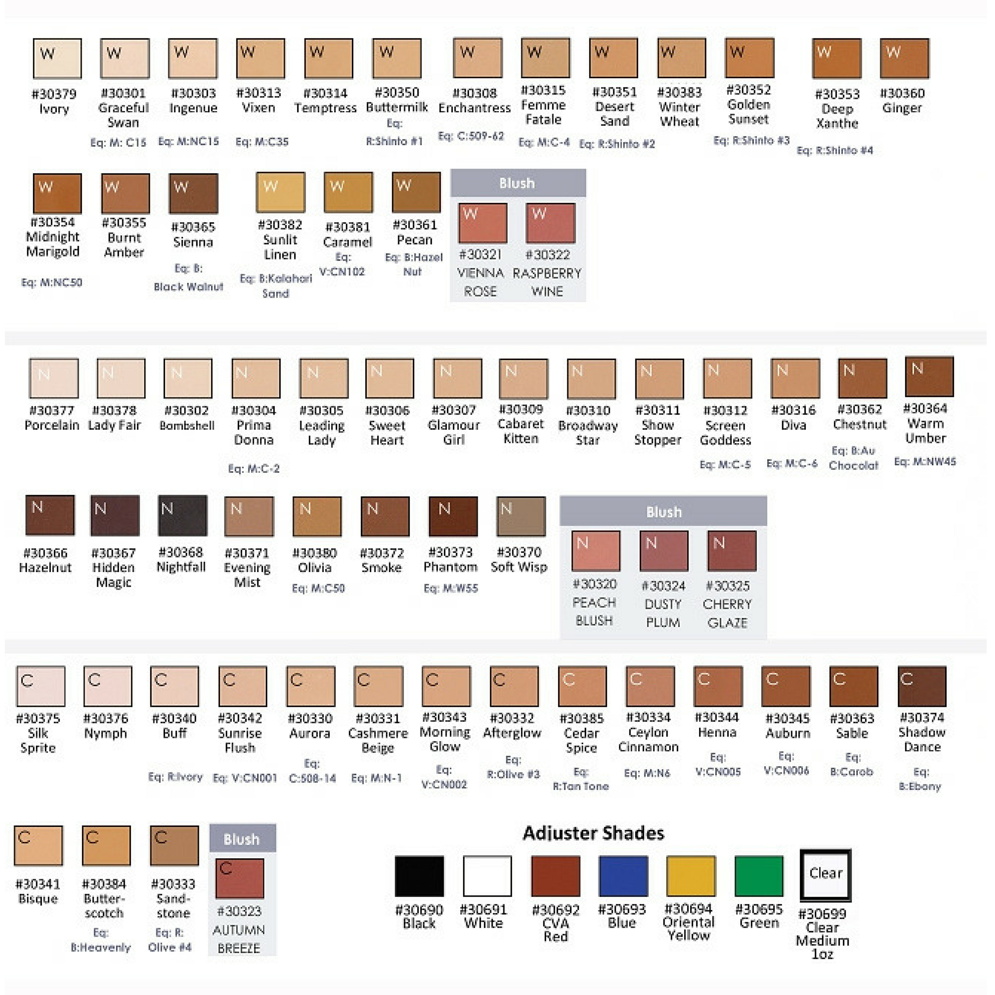 GlamAire Color Chart